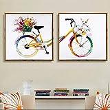 Combinación de dos imágenes Arco iris Bicicleta colorida Perrito Pintura en lienzo Imágenes de acuarela Impresiones para arte de sala de estar / 50x50cmx2 Sin marco
