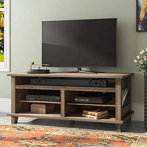 Wampat Farmhouse Wood TV Stand Console for up to 70quot Flat Screen TVs Living Room Entertainment Center Storage Shelves TV Cabinet Holds up to 280 lbs Screensin Gray Wash Finished