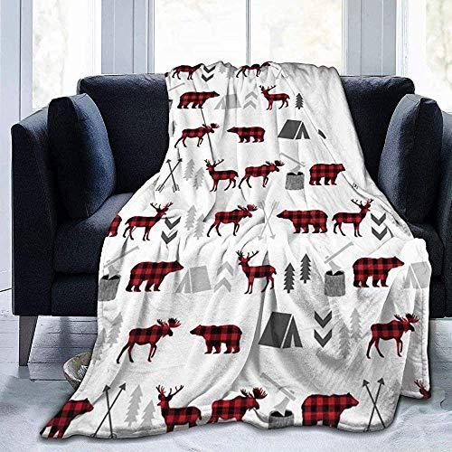 Mantas Sofá Sofá Abrigo de sofá Microfleece Shaggy Throw Throw Mantas Sofá Sofá Buffalo Plaid Woodland Moose Hombres Mujeres para sofá Cama Oficina en casa
