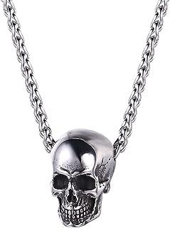 UMtrade Skull Head Pendant,Gothic Biker for Men/Women Punk Gift Halloween Jewellery Necklace