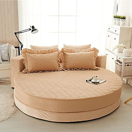 CYYyang Colchón Antiácaros de Espuma de para Cama Microfibra Pure Cotton Solid Color Bedspread Round Bed-Camel-Quilted_2.2m
