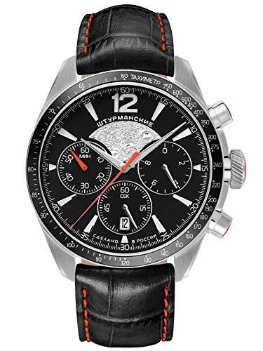 Sturmanskie Herrenuhr mit schwarzem Lederband Luna-25 (Moon-25) Chronograph 6S20-4785407