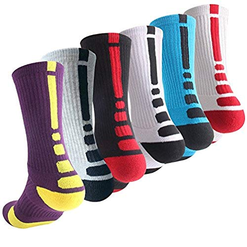 Boys Sock Basketball Soccer Hiking Ski Athletic Outdoor Sports Thick Calf High Elite Crew Sock 6 Pack B, Size M