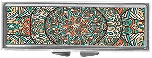 Aaron Melvin Floral Mandala Ladybug Daisy Custom Fashion Style Rectangle Pill Box Silver Jewelry Box,Coin Purse
