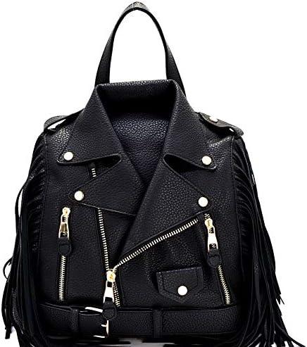 Moto Jacket Design Bike Vegan Leather Fringed Saddle Bag Fashion Backpack Purse product image