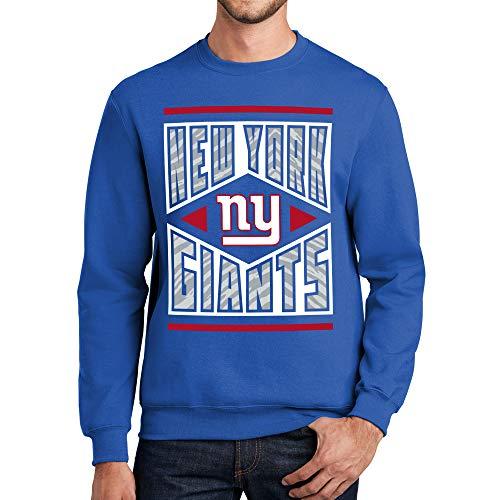 Zubaz Officially Licensed NFL New York Giants Crew Neck Sweatshirt with Zebra Diamond Block Logo, Royal Blue, XX-Large, team color