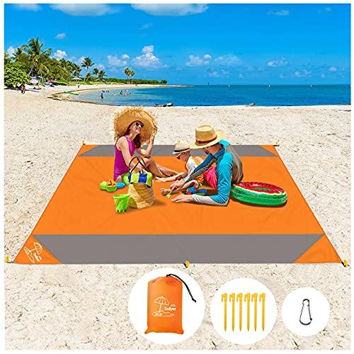 Daliyer Picknickdecke, Stranddecke Wasserdicht 210 x 200, Strandmatte mit Tasche und 6 Befestigungsecken, Picnic Blanket Matte für Picknicks, Camping, Strand, Wandern und Ausflüge ( Orange )