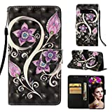 Case for Galaxy S10 Plus,Kickstand 3D Printing Pu-Leather Wallet Case with Magnetic Closure Card Holder Wrist Strap Flip Folio [Anti-Scratch] Case Compatible with Samsung Galaxy S10 Plus -Purple