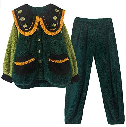 LEYUANA 2PCS Otoño Invierno Mujer Conjuntos de Pijamas, Franela Gruesa Ropa de hogar cálida Manga Larga LA