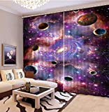 3D Printed Blackout Curtainsdigital Printing Design Distinctive Vertical Curtains, Purple Space Planet Print Simple Stylish Eyelet Curtains Breathable Insulation ,For Living Room Bedroom Kid Room Cas