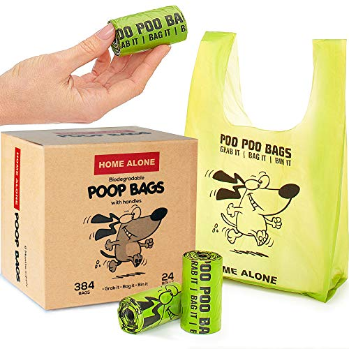 Dog Poop Bags with Handles Tie Poop Bags for Dogs - Thick Pet Waste Bags - Small to Medium Breeds - Green - Unscented - 384 bags - 24 rolls