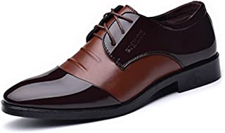 JJESC Men's Formal Business Shoes Burnished PU Leather Splice Lace Up Lined Oxfords Flat Heel