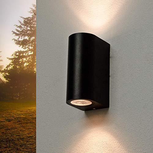 Moderne Wandleuchte Up Down Spot Schwarz IP44 2xGU10 Aluminium Außen Strahler Haus Terrasse Balkon