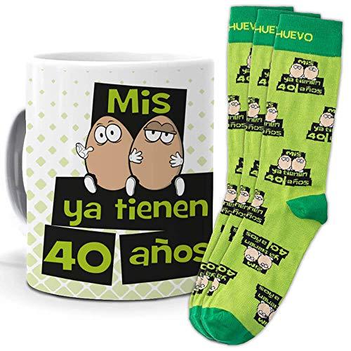 mundohuevo Taza trio de y calcetines, originales y personalizados, ideal regalo cumpleaños. Mis huevos ya tienen 40 años. 1 calcetin gratis por el que se te pierde
