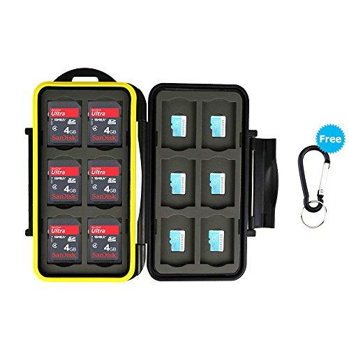 JJC Memory Card Custodia impermeabilità Porta schede di Memoria 24 Fessura per 12 SD + 12 Micro SD con moschettone