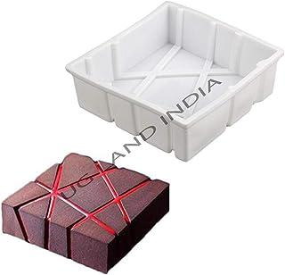 UG LAND INDIA 3D Mousse Cake Silicone Mold White Silicone Cube Twill Shaped Mousse Cake Decorating Mold for Ice Cream Choc...