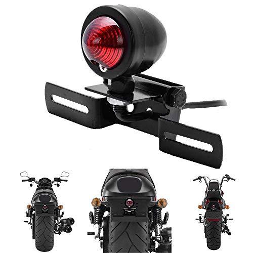 HANEU Motorrad Rot Rücklicht Bremsstopp Blinker Lampe mit Kennzeichenrahmen Motorrad Rücklicht für Harley Bobber Chopper Cruiser Dyna Glide Sportster 12V