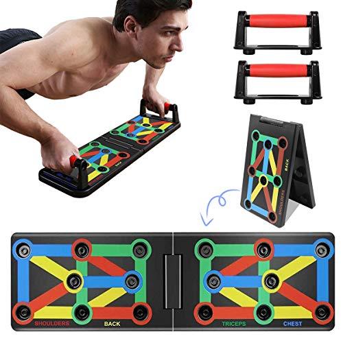 Jeteven Push-Up-Board, 9-in-1-Multifunktions-Muskelboard, Bodybuilding-Trainingsgeräte, Farbcodiertes Push-up-Board für Heimfitness-Trainingsgeräte