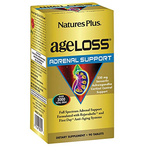 NaturesPlus AgeLoss Adrenal Support - 90 Vegetarian Tablets - Promotes Healthy Stress Response, Antioxidant, Anti-Inflammatory & Anti-Aging - Gluten-Free - 30 Servings
