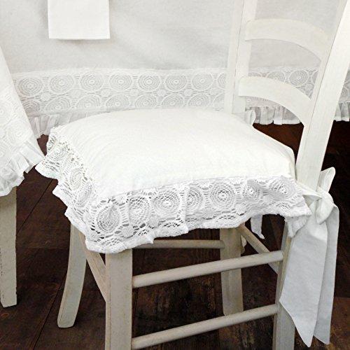 AT17 Cuscino per Sedia Shabby Chic Madame White Collection 40 x 40 Colore Bianco