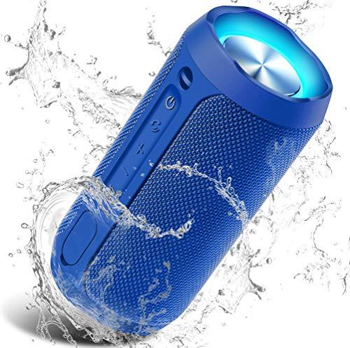 Bluetooth Lautsprecher Tragbarer, TWS Verbesserter IP67 Wasserschutz, 24 Watt Wireless 360° Sound Kabelloser Lautsprecher mit eingebautem Mikrofon, für iOS, Android, TV - Blau