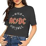 BAOQIN ACDC Camisa Crop Top Summer Dew Navel Camiseta Mujer 's