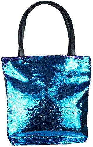 mygoodtime Pailletten Tasche Handtasche Damen Shopper Einkaufs-Strandtasche Metallic Glitzer Türkis Lila