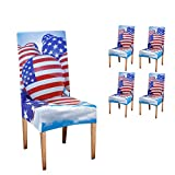 CUXWEOT Chair Covers Protector American Flag Balloon Comfort Soft Seat Covers Slipcovers for Dining Room Party (Set of 4)