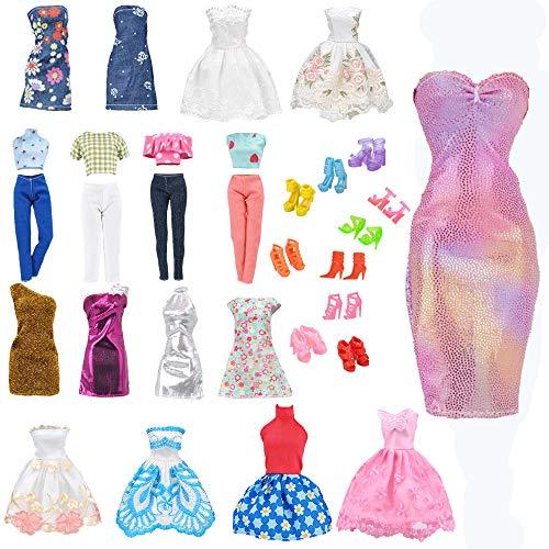 E-TING Lote 15 artículos = 5 Conjuntos Aleatorio Faldas Vestir Vestidos Ropa + 10 Pares de Zapatos para Muñecas Barbie Doll