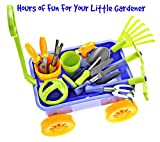 Dimple Garden Wagon & Tools Toy Set Premium 15Piece Gardening Tools & Wagon Toy Set – Sturdy & Durable - Top Yd, Beach, Sand, Garden Toy - Great for Kids & Toddlers (Garden Toy Set), Green (DC12752)