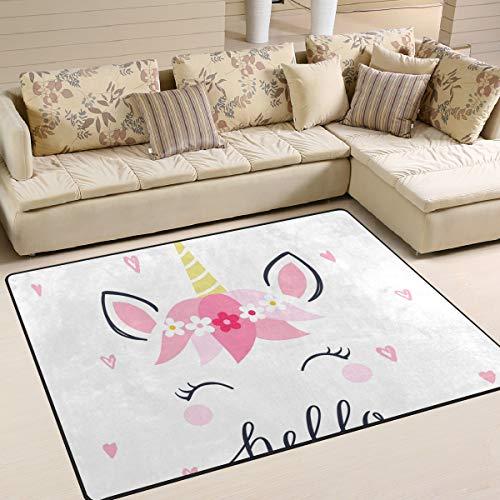 JSTEL INGBAGS - Alfombra de Unicornio Moderna, Supersuave, para Sala de Estar, Dormitorio, Alfombra para niños Que juegan en casa