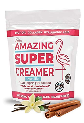Super Amazing Creamer -- MCT Oil, Collagen, Hyaluronic Acid -- All Natural, Keto, Low Carb -- Anti Aging, Beauty Burst, & Brain Boost