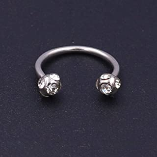 Niaofeces Piercing De Nariz 2Pc Andoized Silver Crystal Surgical Steel Piercing Herradura Lip Bar Stud Nose Ear Nipple Ring   Earring-White