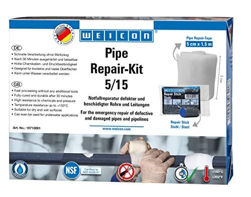 WEICON Pipe Repair-Kit 5/15  Rohrreparaturset für Risse und Lecks an Rohren und Leitungen   5 cm x 1,5 m