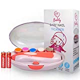 Babily Electric Baby Nail Trimmer with 6 Grinding Heads for Newborn Infant and Toddler (2AA Cell Included) (Pink)