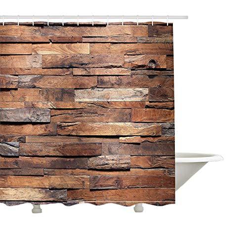 Yeuss-houten douchegordijn, oude ruïne, rustieke planken in horizontale bestellingen-BAU-landhuis-afbeelding, weefsel-badkamer-decoratieset met haken, kaneel-omber