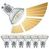 EACLL Bombillas LED GU10 7W 2700K Regulable luz blanca cálida 595 lúmenes, 6 Pack