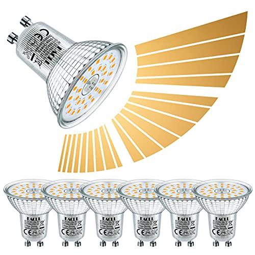 EACLL GU10 LED Warmweiss Dimmbar 7W Leuchtmittel 2700K 595 Lumen. Stufenloses Kontinuierliches Dimmen mit Dimmer. 3-Stufig Dimmen, 3 Helligkeit, Vielseitigkeit PAR16 Reflektor Lampen, 6 Pack