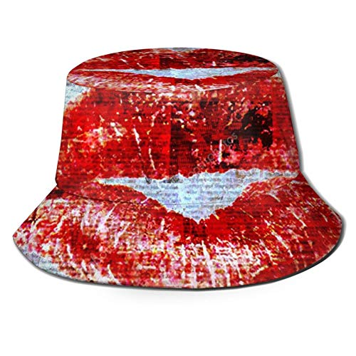 Fischerhut 3D Red Lipstick in Old Paper Folding Bucket Hat Summer Sun Hat for Men Women