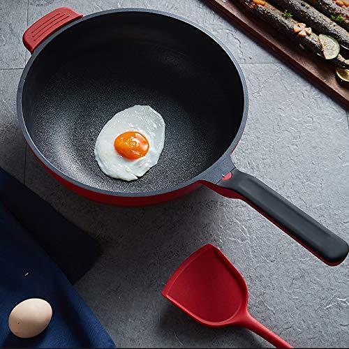 51P O9w15bL. SL500  - NXYJD 30cm Antihaft-Wok Antihaft-Pfanne Ohne Ölrauch Unbeschichteter Haushalts-Wok-Pfanne Induktionstopf Küchentopf Kochtopf (Color : Red)