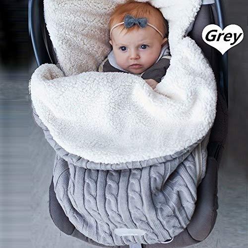 Baby-Stricksack für Kinderwagen, Autositz, Schlafsack, universal, Baby-Fußsack, Einlage für Buggy, Kinderwagen, gemütlich Gr. One size, A-Light Grau