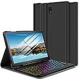 ELTD Tastatur Hülle für Samsung Galaxy Tab S4 10.5 (Deutsches QWERTZ-Layout), Hülle mit 7 Farben LED-Hintergr&beleuchtung Kabellose Tastatur für Samsung Galaxy Tab S4 T830/T835 10.5 Zoll (Ink)