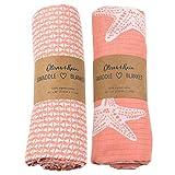 Organic Muslin Swaddle Blanket Oliver & Rain, Newborn Baby Girl, Coral Pink Starfish & Mini Geometric Fish 2 Pack
