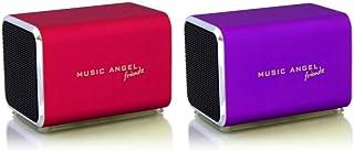 Music Angel Friendz Speaker Twin Pack Bundle for iPhone/iPad/iPod/Mp3/Laptop/Smartphone - Red/Purple
