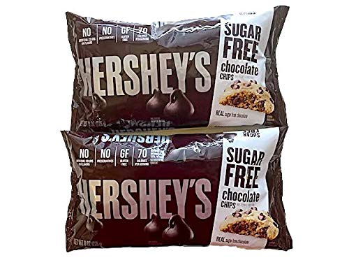 Hershey#039s Sugar Free Chocolate Chips  Special Edition Pack of 2  Includes Free Recipe of the Month Card with Sugar Free Recipes
