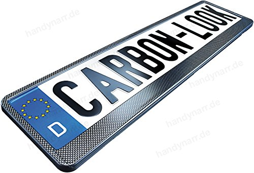 2X Hochglanz Carbon Optik Look PKW Kennzeichenhalter (schwarz) 520 x 110 mm Kfz Nummernschildhalter (Kennzeichenrahmen)