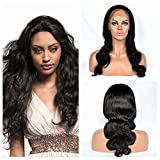 Poliga Hair 360 Silk Top lace frontal Wig Pre Plucked with Baby Hair Glueless Body Wave for Black Women 180% Density Natural Color (14' silk top)