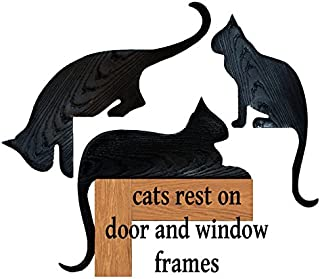 KC Creations Set of Three Black Silhouette Cats Plastic Wood Grained Jumper Sitter Rester