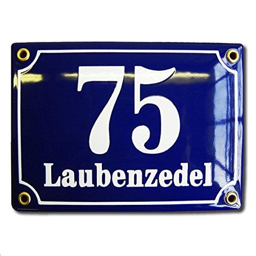 Hausnummer Hausnummernschild Emaille 12x17 cm mit Wunschstraßennamen und Nummer