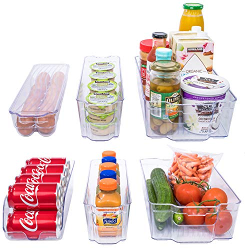 Adorn Home 6 Piece Refrigerator/Freezer Organizer Bins with Handles | Stackable Storage Containers | Pantry Storage Bins | Clear | 6 - PC. Set |
